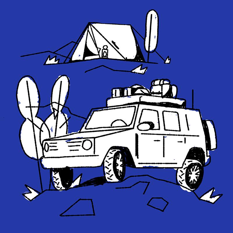 Ilustración de la ilustradora y animadora 2D Joëlle Carreño, 4x4