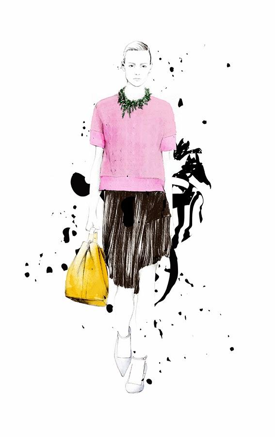 Iustración de Spiros Halaris modelo Dior para la revista Glamour