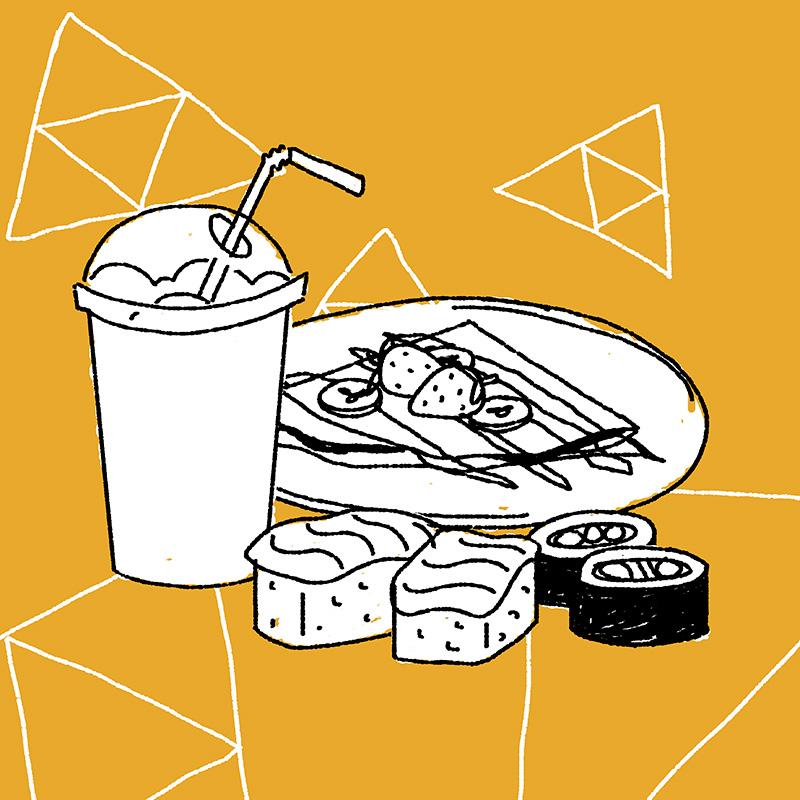 Ilustración de la ilustradora y animadora 2D Joëlle Carreño, comida