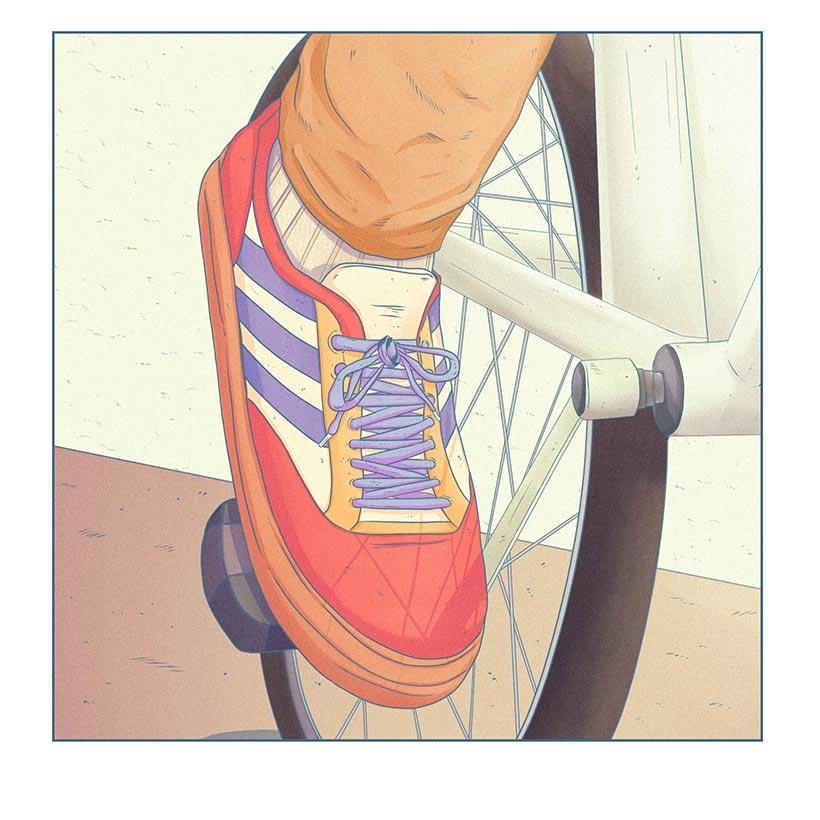 Ilustrador Mono Blanco Bici