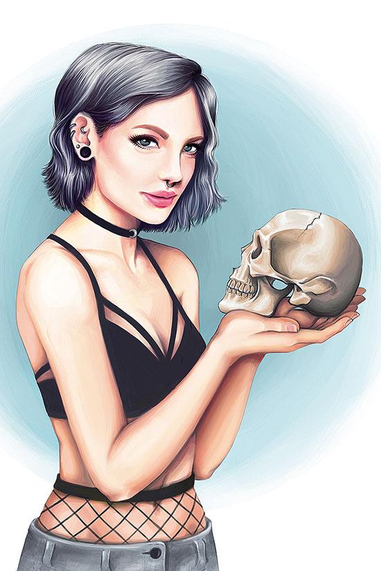 Ilustradora 3d Ana Dalle Skull