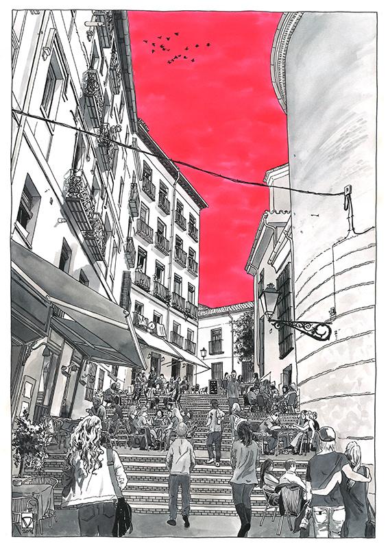 Ilustración Daniel Moyano para revista TIMEOUT, calle Nuncio Madrid