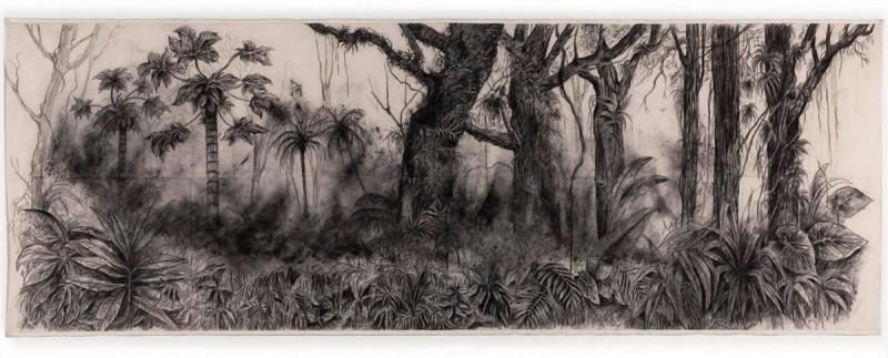 Galería Instituto de Visión. Título: Panorama Catatumbo. Artista: Nohemi Perez. Año: 2012-16. Técnica: Carbón sobre tela. Dimensiones: 180x500 cm