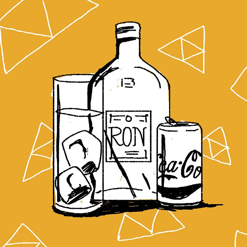 Ilustración de la ilustradora y animadora 2D Joëlle Carreño, ron cola