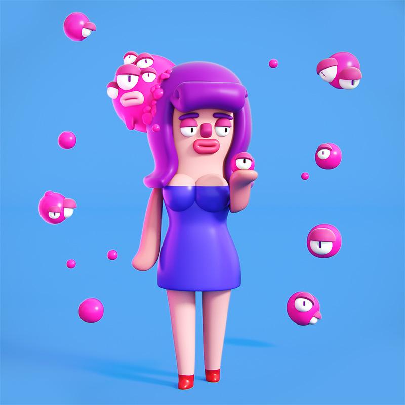 Agencia de ilustración ilustrador Cosmik Madness, roberta the homunculus queen 2