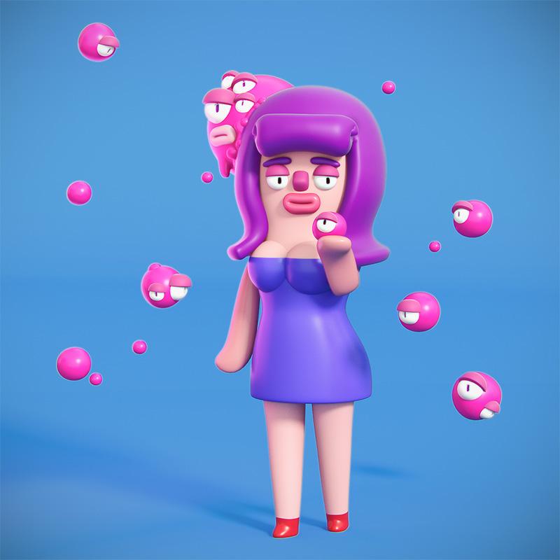 Agencia de ilustración ilustrador Cosmik Madness, roberta the homunculus queen.