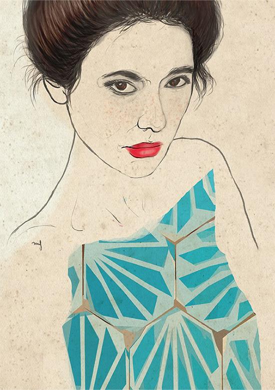 Ilustradora Marta Font Ilustración Tiles blue dress