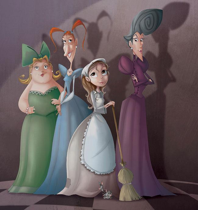 Ilustrador Omar Aranda Ilustración Cenicienta. Diseño de personajes