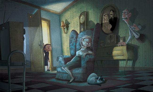 Ilustrador Omar Aranda Ilustración El fantasma del abuelo