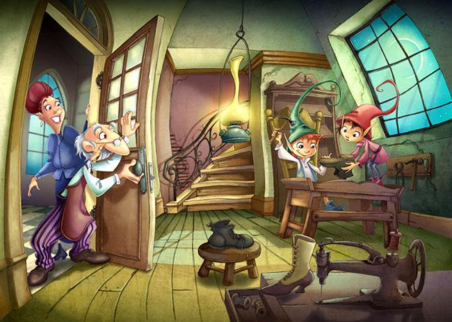Ilustrador Omar Aranda Ilustración Shoemaker and the elves