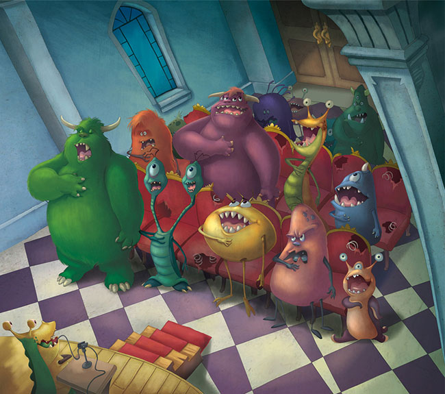 Ilustrador Omar Aranda Ilustración Reunión monstruosa 2