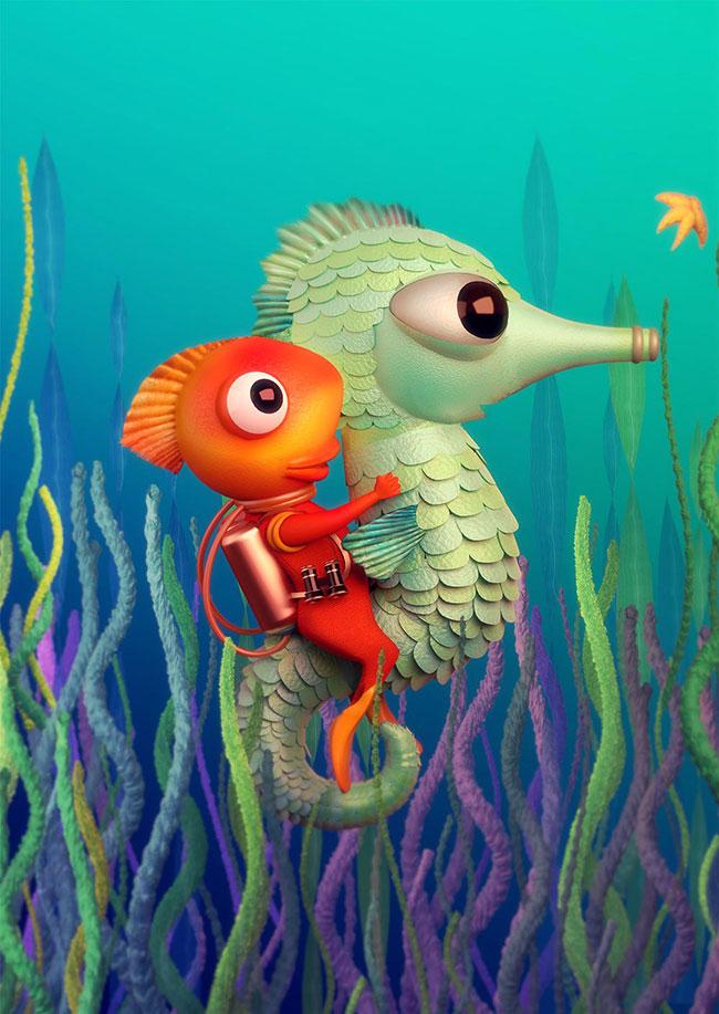 Ilustradora Gaby Thiery, ilustración Caballero de mar