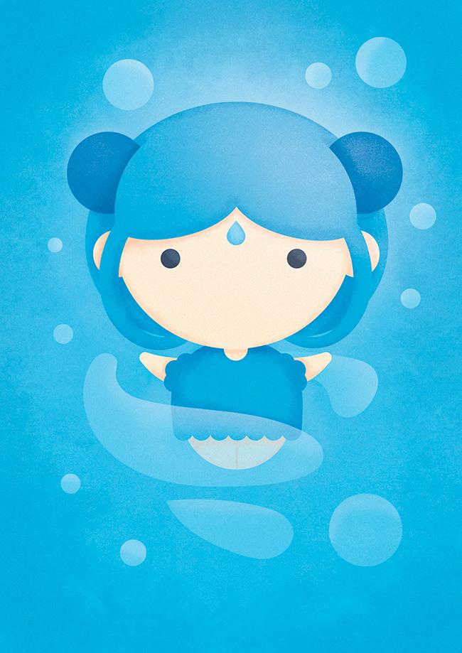 Ilustradora Sara Gummy, Ilustración Avatar Water ilustradora Sara Gummy