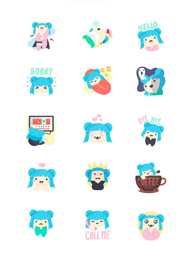 Ilustradora Sara Gummy, Ilustración Mojilala Emily Blue stickers