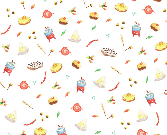 Ilustradora Sara Gummy, Ilustración Watercolor Food pattern 2