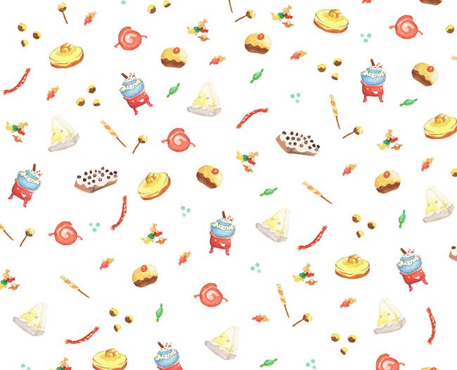 Ilustradora Sara Gummy, Ilustración Watercolor Food pattern 2
