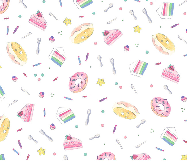 Ilustradora Sara Gummy, Ilustración Watercolor Food rainbow pattern