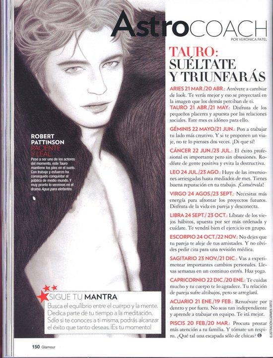 Página de la revista Glamour con ilustración de Robert Pattinson de la ilustradora Carmen Ortíz