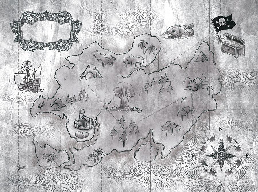 Mapa del libro La Isla del Tesoro ilustrado por la ilustradora Cristina Serrano