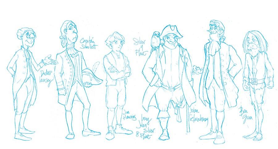 Estudio de personajes realizados para el libro La isla del Tesoro por Cristina Serrano