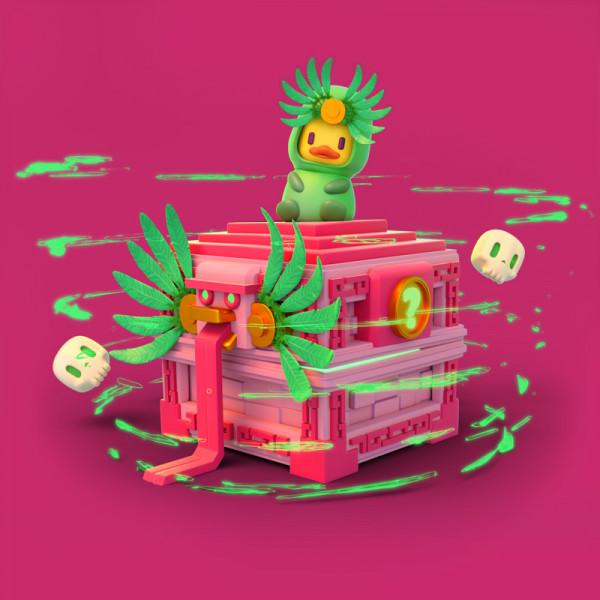 ilustración 3D caja azteca