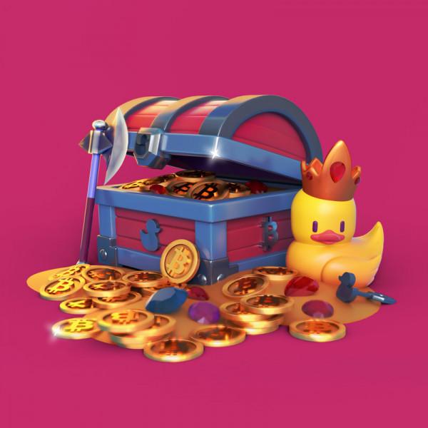 ilustración 3D caja pato Rey