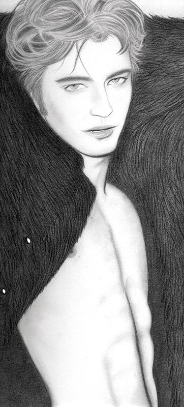 Ilustración de Robert Pattinson de la ilustradora Carmen Ortíz para la revista Glamour