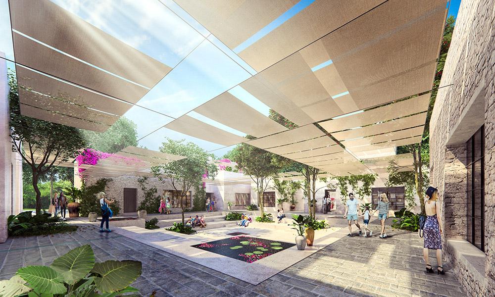 Ilustración infografía arquitectura ilustrador Pedro Lechuga, proyecto Berjon, Tulum, México