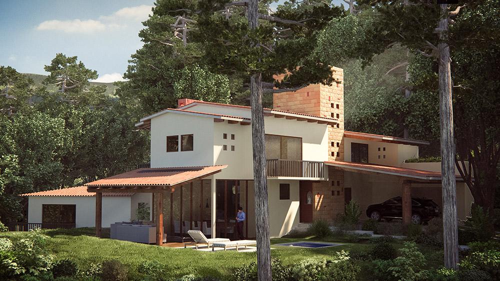 Ilustración infografía arquitectura ilustrador Pedro Lechuga, proyecto DEK Arquitectos, Casa Valle, México