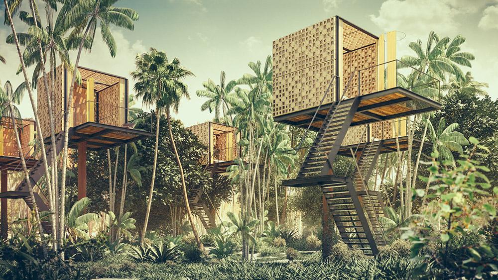 Ilustración infografía arquitectura ilustrador Pedro Lechuga, proyecto Diametro, hotel, México