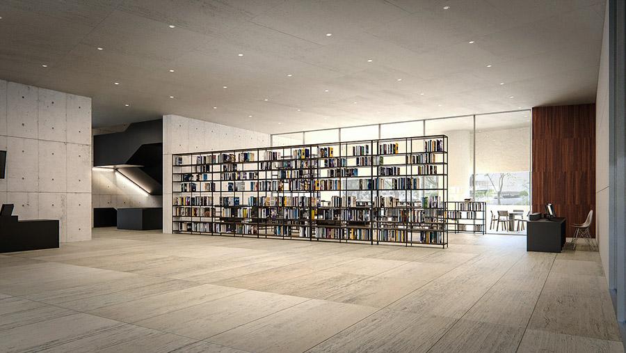 Ilustración infografía arquitectura ilustrador Pedro Lechuga, proyecto Jumex Museum, mobiliario, México