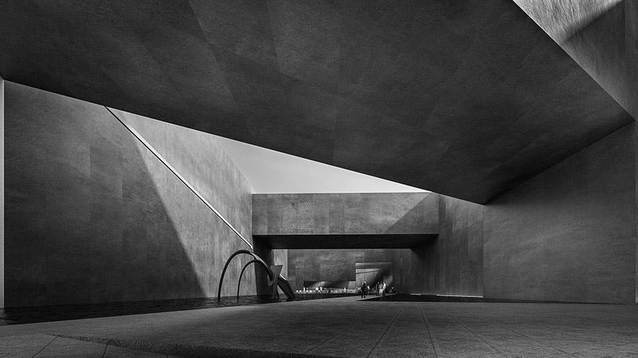Ilustración infografía arquitectura ilustrador Pedro Lechuga, proyecto Lucio Muniain, Cultural Center, Pyeongchang Korea