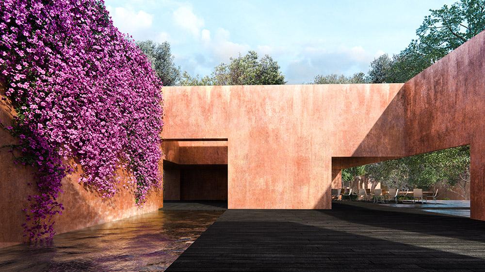 Ilustración infografía arquitectura ilustrador Pedro Lechuga, proyecto Lucio Muniain, Tepoztlan 1, México