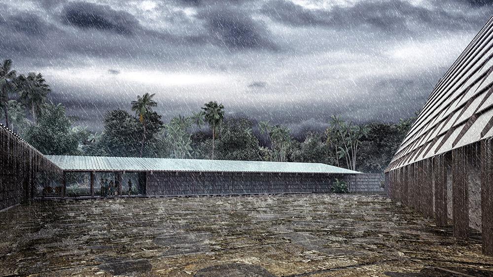 Ilustración infografía arquitectura ilustrador Pedro Lechuga, proyecto Pavel Escobedo, Centro Comunitario 2, México