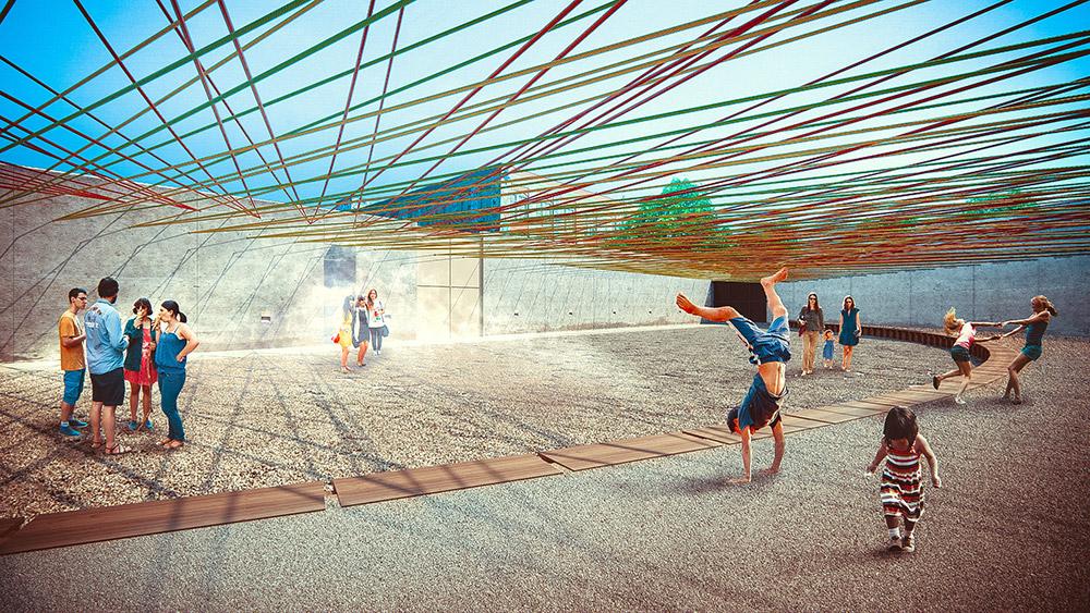 Ilustración infografía arquitectura ilustrador Pedro Lechuga, proyecto Pavel Escobedo, MoMa, México