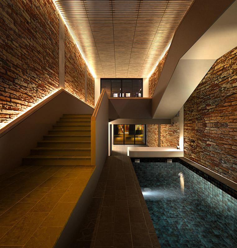 Ilustración infografía arquitectura ilustrador Pedro Lechuga, proyecto Pool House, 1, Jp