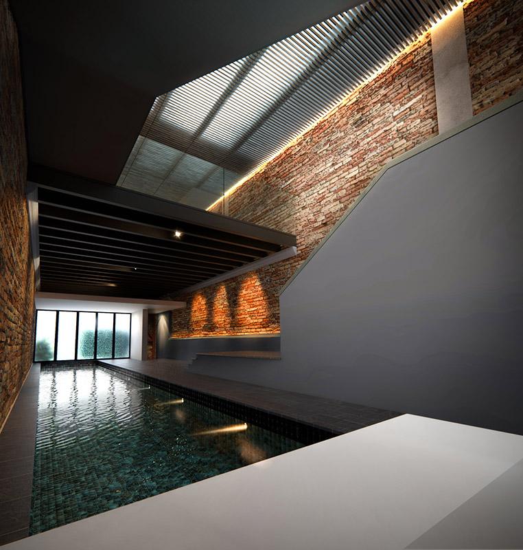 Ilustración infografía arquitectura ilustrador Pedro Lechuga, proyecto Pool House, 2, Jp