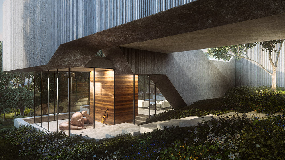 Ilustración infografía arquitectura ilustrador Pedro Lechuga, proyecto Rojkind, Casa Pliego, 1, México