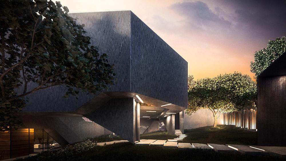 Ilustración infografía arquitectura ilustrador Pedro Lechuga, proyecto Rojkind, Casa Pliego, 2, México