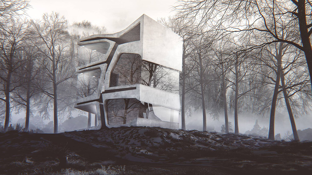 Ilustración infografía arquitectura ilustrador Pedro Lechuga, proyecto Slot Arquitectura, casa, Noruega