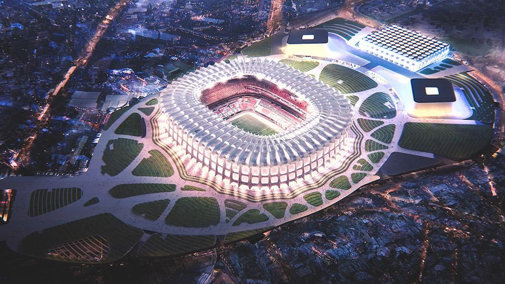 Ilustración infografía arquitectura ilustrador Pedro Lechuga, proyecto Slot Arquitectura, Estadio Azteca, México