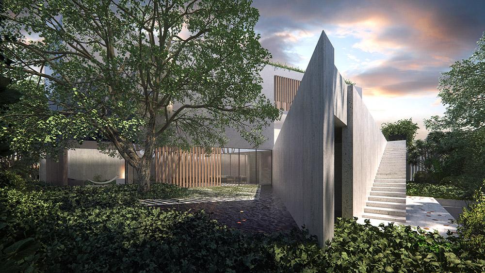 Ilustración infografía arquitectura ilustrador Pedro Lechuga, proyecto Taller Mauricio Rocha + Gabriela Carrillo, casa, México