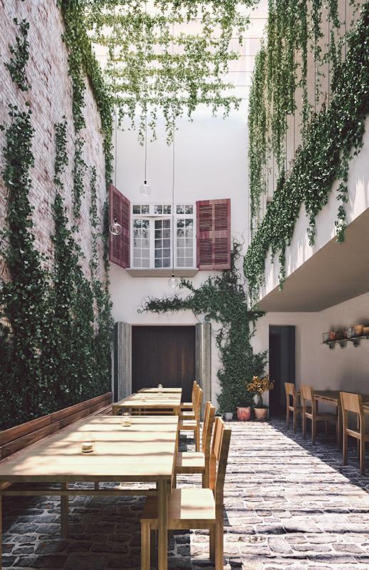 Ilustración infografía arquitectura ilustrador Pedro Lechuga, proyecto Taller Mauricio Rocha + Gabriela Carrillo. Roma, México