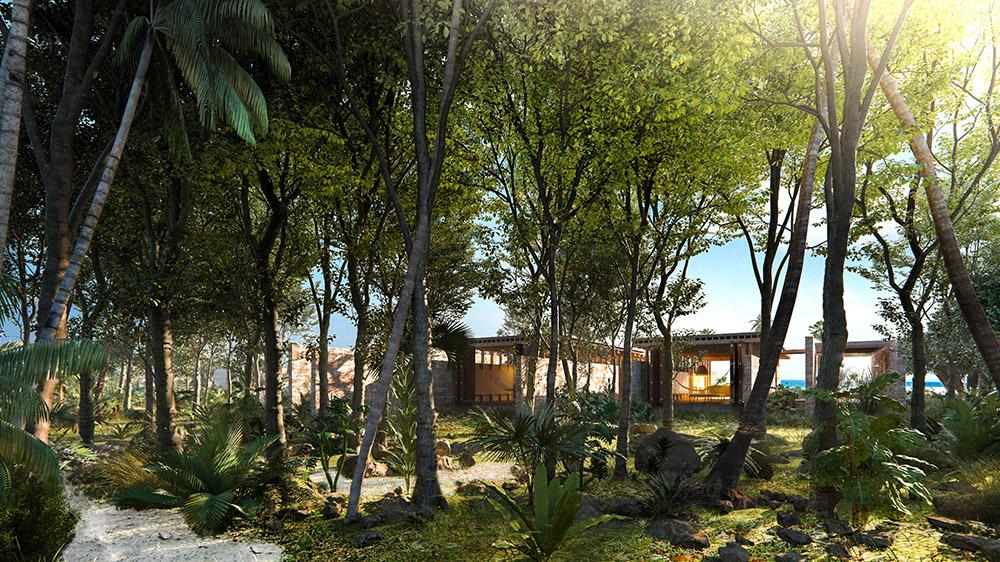 Ilustración infografía arquitectura ilustrador Pedro Lechuga, proyecto Taller Mauricio Rocha + Gabriela Carrillo, Siaan Kaan 2, México