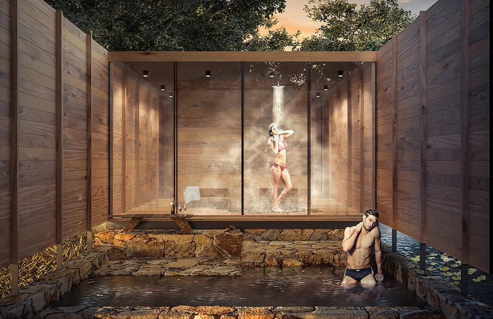 Ilustración infografía arquitectura ilustrador Pedro Lechuga, proyecto Taller Mauricio Rocha + Gabriela Carrillo, Spa, México