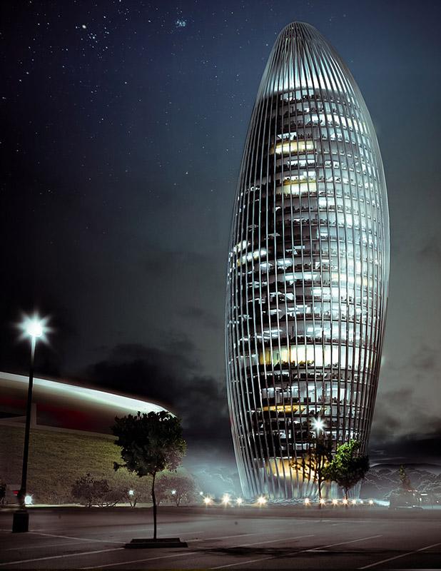 Ilustración infografía arquitectura ilustrador Pedro Lechuga, proyecto Torre Gdl, México