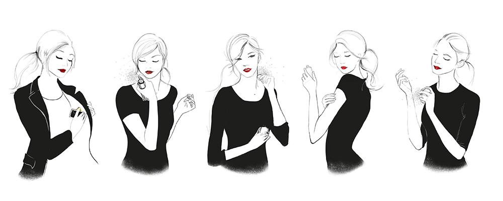 Ilustración guía de uso perfumes Bulgari