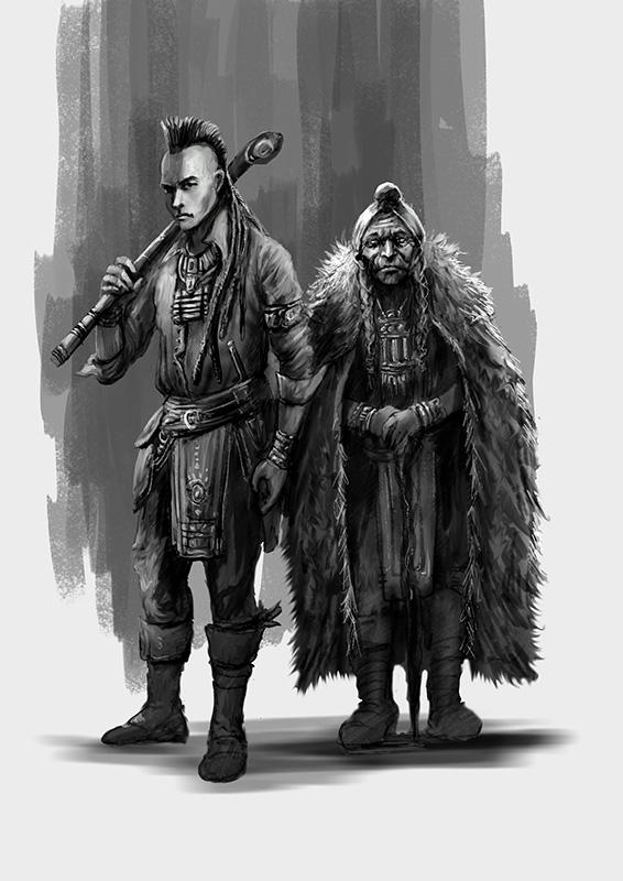 Ilustración Patricio Clarey, novela gráfica Savage, personajes Los Indios