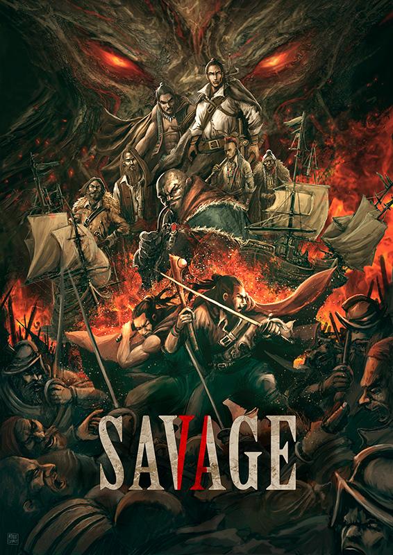 Ilustración Patricio Clarey, portada novela gráfica Savage