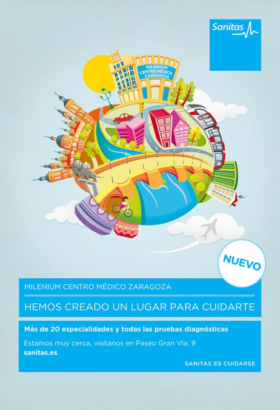 Cartel con ilustración de Pirusca Sanitas Zaragoza